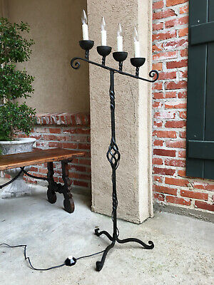 Antique French Wrought Iron Floor Lamp 4 Candle Candelabra Castle Lighting Black French Floor Lamp
