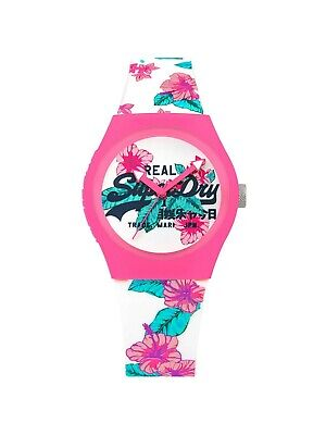 SUPERDRY MODEL: SYL160WP - 38MM  WHITE, PINK, FLORAL SILICONE BAND WATCH - GIFT