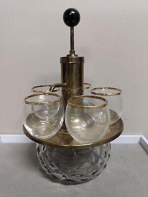 Vintage Park Sherman Brass & Glass Liquor Dispenser Decanter w/5 glasses