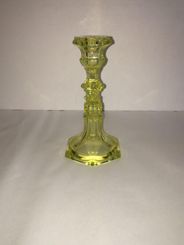 LA2 19th Century Flint Glass Candlestick Canary Yellow 1850's Sandwich