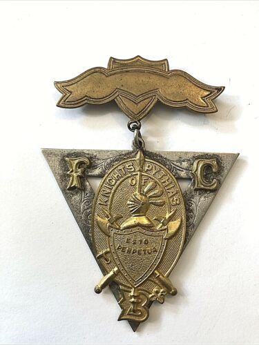 VTG Victorian Knights Of Pythias Brass Silver Medal FCB Pin Badge 1874