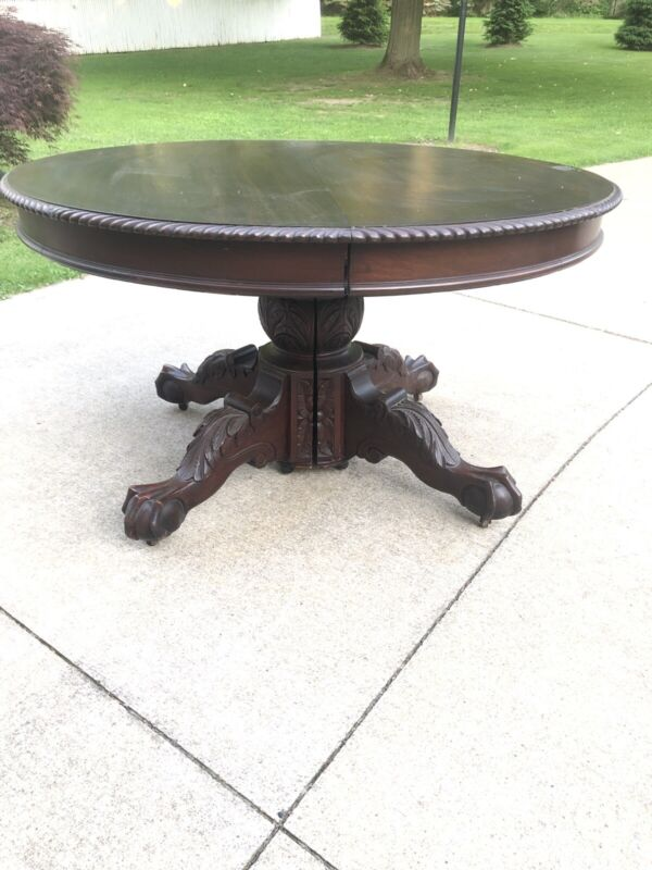 """Beautiful Solid Mahogany 52"""" Round Victorian Dining Table w/ 5 Leaves 6 Chairs"""