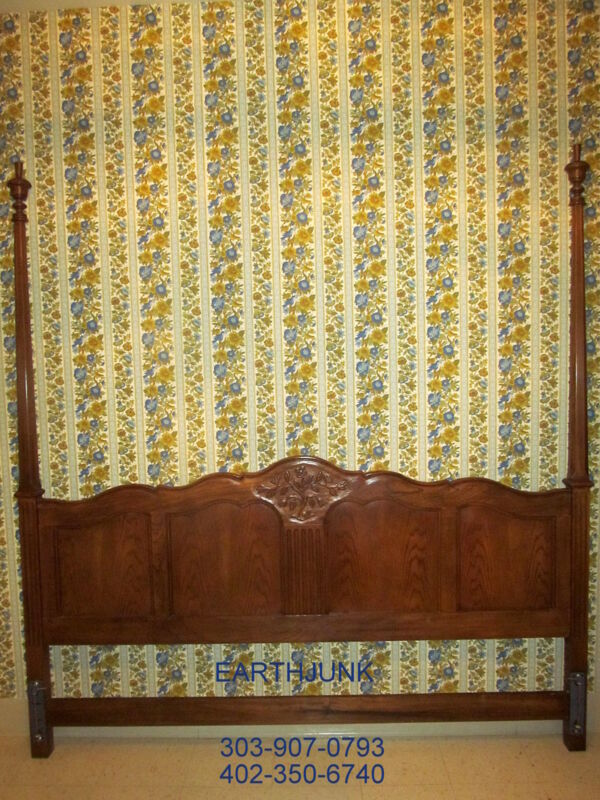 """Baker Furniture King Poster Headboard Oak Carved French Collection 86"""" H"""