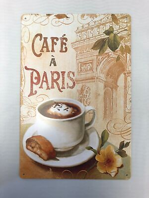 Retro Cafe Paris Coffee Cup Metal Sign Home Kitchen Wall Decor Tin Poster - Metal Home Cafe Signs