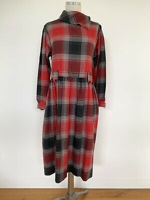 80s Dresses   Casual to Party Dresses Vintage 1980s Plaid Check Dress Katies Classic 80s Winter Casual Day  $35.95 AT vintagedancer.com