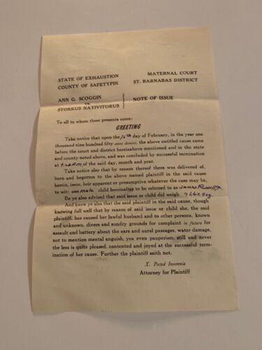 HILARIOUS STATE OF EXHAUSTION BABY ANNOUNCEMENT LETTER FROM ATTORNEY 1950