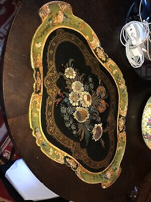 Large Antique Hand Painted PAPIER MACHE TRAY,Japan circa 1915-20
