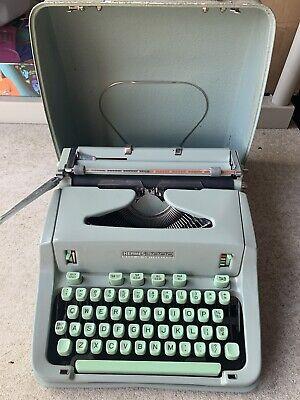 1964 Hermes 3000 Portable Typewriter w/Case Seafoam Green Antique