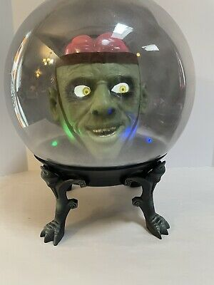 "GEMMY MONSTER BRAIN LARGE 14"" SPIRIT CRYSTAL BALL ANIMATED HALLOWEEN No Cord"