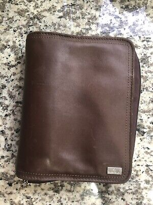 Vintage Franklin Covey Unstructured Compact Planner Brown Nappa Leather Personal