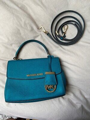 Michael Kors Mini Ava Cross Body With Strap Turquoise Saffiano Leather