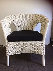 2x cane chairs with black cushions Hornsby Hornsby Area Preview