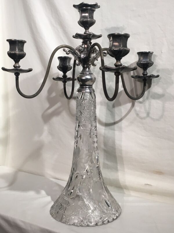Antique Vintage Art Deco Art Nouveau Brilliant Cut Glass Silver 5tier Candleabra