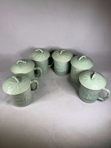 Lot of 6 Gardeners Eden pale green Bamboo Design Tea CUP Coffee MUG w/ LID a367