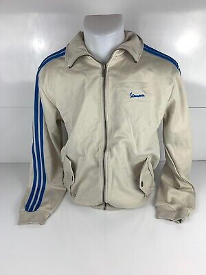 Men`s Adidas X Vespa Embroidered Stitched Logo Track Jacket Full Zip Size M