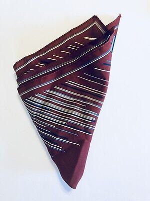 "Gino Powpeii  Italy Vintage Pocket Scarf 13.5"" Square Blue Gray Maroon Geometric"
