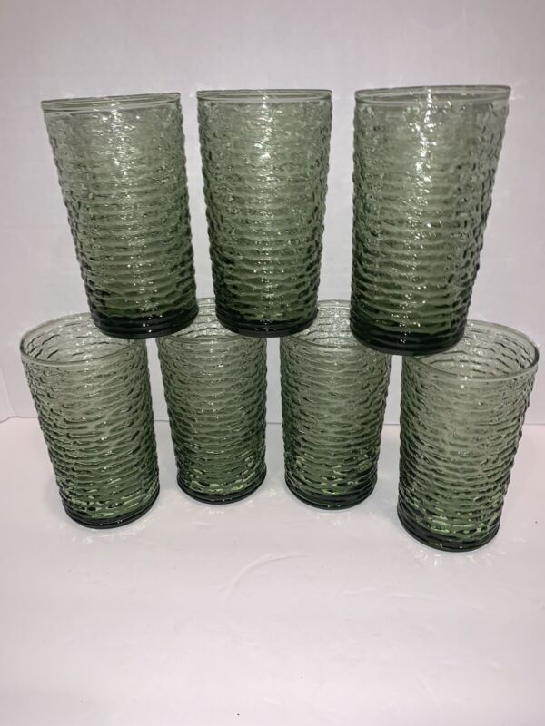 "7 Vintage Anchor Hocking Soreno Avocado Green Highball Glasses Tumblers 5"" HTF!"