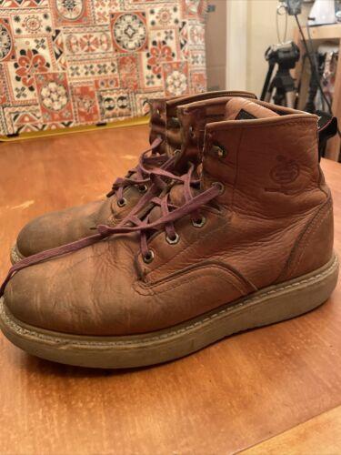 "GEORGIA 6"" Wedge Leather Barracuda Gold Brown Work Boots G61"