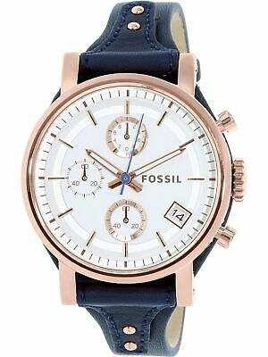 Fossil Women's Boyfriend Stainless Steel Leather Chronograph Quartz Watch NEW