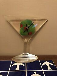 Vintage Retro Martini Glass Wall Clock Bar Ware Lucite Acrylic Kitschy