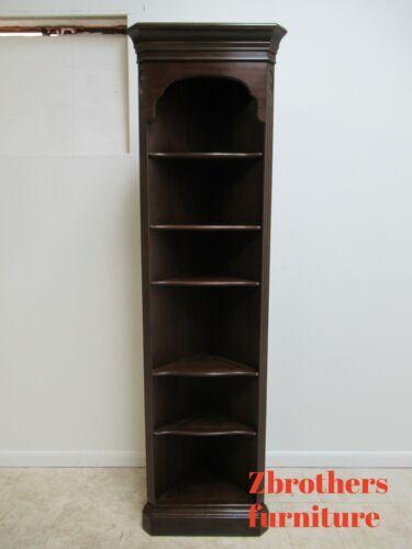 Ethan Allen Chippendale Georgian Court Corner Shelf Display Cabinet Hutch 225 BB