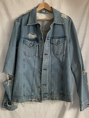 Acne Studio Fever Trash Denim Jacket perfect distressed / shredded size 40 us M