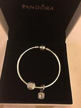 Pandora authentic silver bracelet with charms Greenacre Bankstown Area Preview