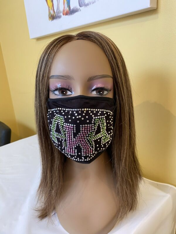 AKA Bling Rhinestone Face Mask With Filter  Free Shipping Shadow Design
