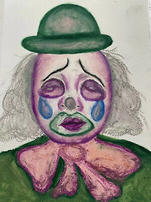 Scary Clown Drawing (Original Sad/Scary Clown Drawing, Oil Pastel 7x10. Lenny The)