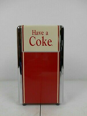"Vintage Coca-Cola ® 1992 Metal Napkin Holder Dispenser Have A Coke 7 1/4"" Tall"