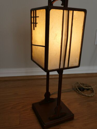 JAPANESE ANTIQUE BEDSIDE  PAPER AND LACQUERED WOOD LAMP - MEIJI ERA