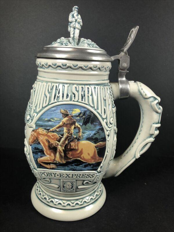 Avon Salute To The Postal Service Pony Express Beer Stein Mug Pewter Lid Vintage