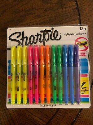Sharpie Highlighters Narrow Chisel 12 Count Multi Color Smear Guard