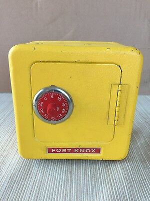 Vintage Yellow Fort Knox Metal Safe with Combination Lock Handle - RETRO BANK!