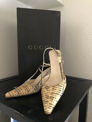 Gucci Authentic/Vintage/Rare Python Pointey Toe Slingback Heels (US Size 8)