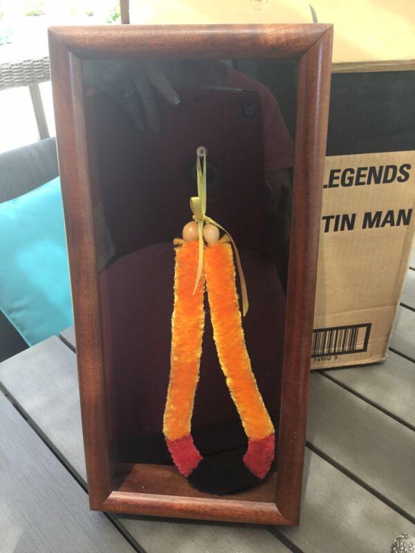 Framed Hawaiian Lei Hulu Kamoe Ilima Feather Lei Lloyd INNOUYE=IN KOA SHADOW BOX