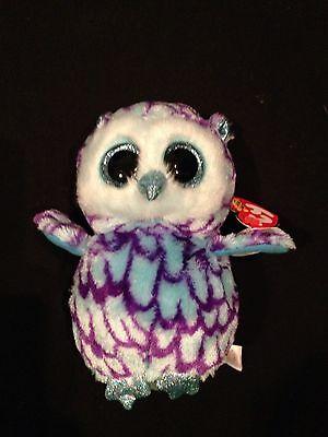 Ty Beanie Boo Oscar The Owl 6  Purple   Blue Glitter Eyes Plush Owl Nwt