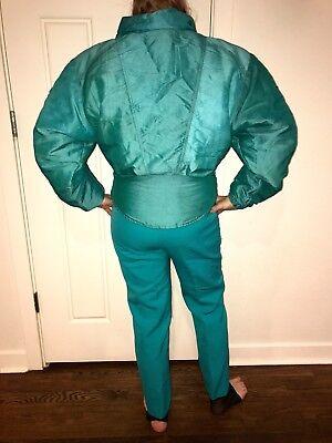 1984cb345f Vtg 80s 90s TEAL Apres Ski Bunny SNOWSUIT Womens 10 Snow Suit Coat 14 Bib  Pants
