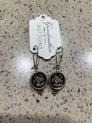Grandmothers Buttons Stamped Brass Earrings -
