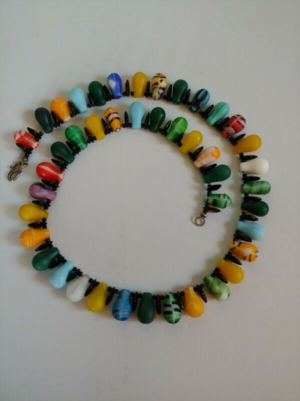 African Wedding Bead NECKLACE Multi Colored Old Mali Trade Glass Bead Jewelry