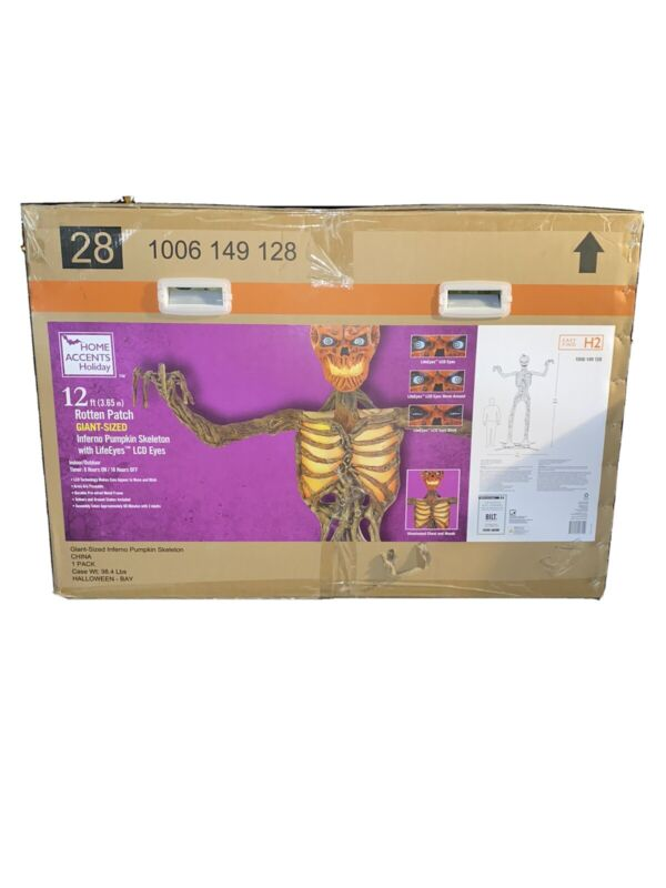 12 Foot Giant Inferno Pumpkin Skeleton W/LCD Eyes Sold Out NEW & FREE SHIPPING