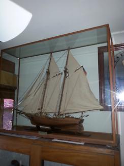 Model ship in desplay case.