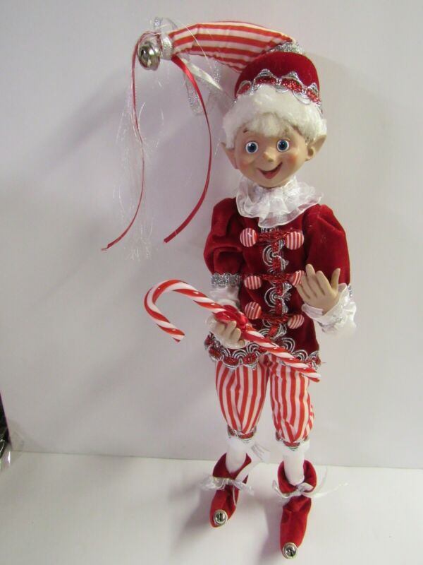 """New Raz 16"""" Bendable Poseable Elf With Candy Cane 4102259"""
