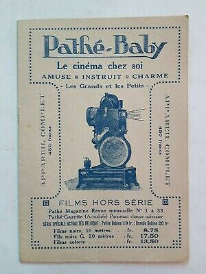 VINTAGE PATHÉ-BABY CATALOGUE BRUXELLES 12 PAGES COMPLET 17.6X12.3CM ENVIRON 1925
