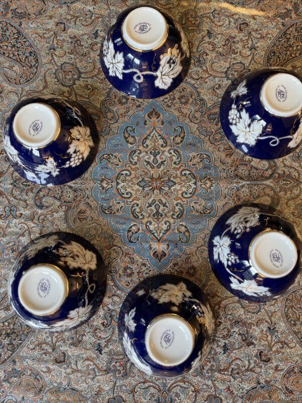 Lomonosov Cobalt Net Russian Porcelain Bowl Set of 6