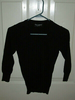 DOLCE & GABBANA Black Stretchy KNIT Top XS-SMALL, Authentic Italy