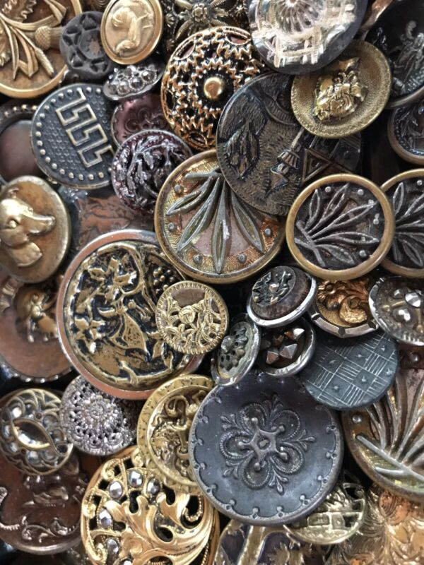 ANTIQUE METAL BUTTON LOT ~ METAL PICTURE BUTTONS VARIETY OF 70 BUTTONS