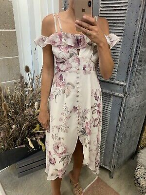Hope And Ivy - Ruffle Off The Shoulder Skater Dress Floral - Size 10 - Asos