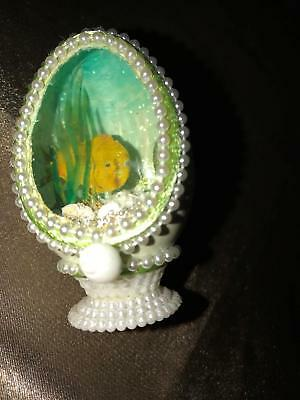 Hollow egg kitschy diorama fish ocean sea shells plants hand painted beads 3""