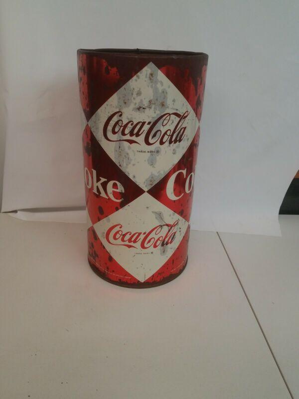 Vintage Coca cola Tall Tin Trashcan Coke